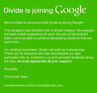 Google achète Divide, une entreprise qui pourrait apporter la sécurité  aux dispositifs Android